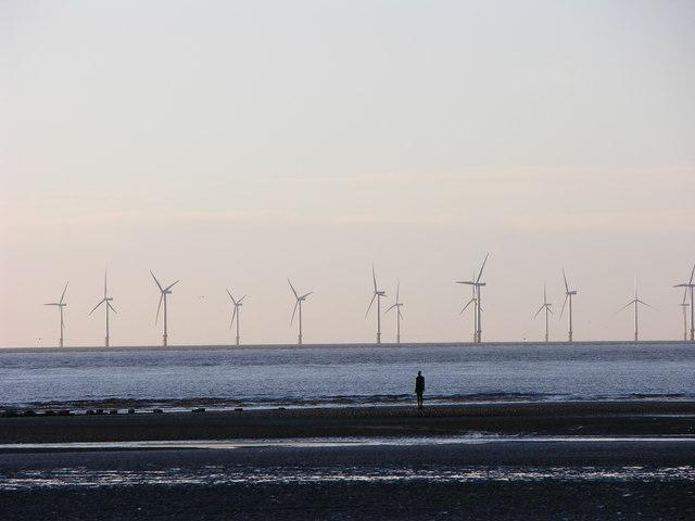 Seaforth wind farm from Crosby Beach