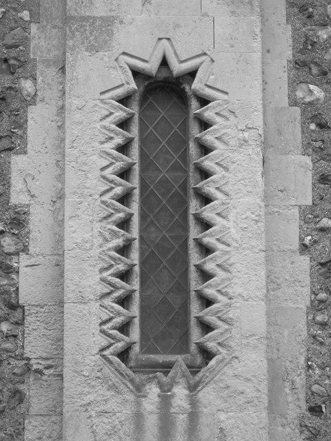 Interesting window on St Nicolas Church, Shoreham
