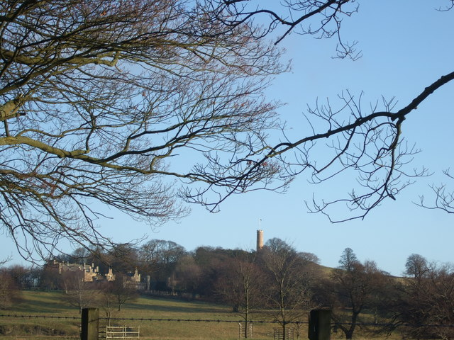 View of The Binns and the Tower on the Hill