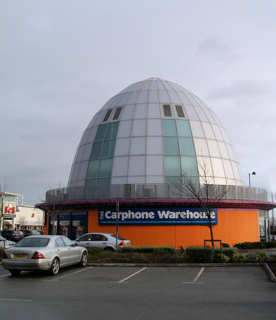 Unusual orange squeezer shape carphone warehouse on St. Andrew's Quay Hull
