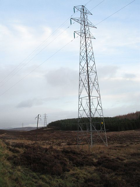 Tall pylon, Braes of Foss Forest