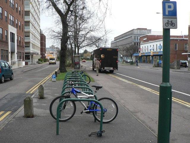 Bournemouth: bike parking at the Lansdowne