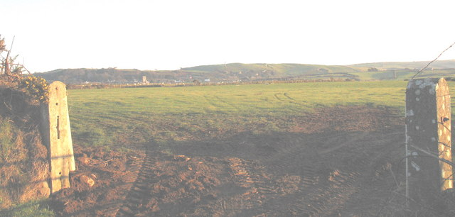 An easterly view across farmland at Rhydolion Farm towards Llanengan village