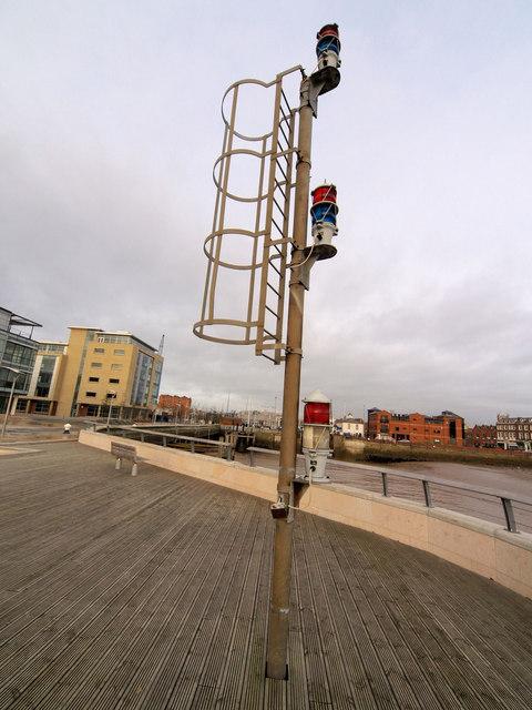 Navigation beacons at the entrance to Hull Dock Basin