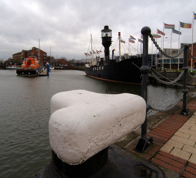 The former Spurn lightship now a museum in Hull Marina