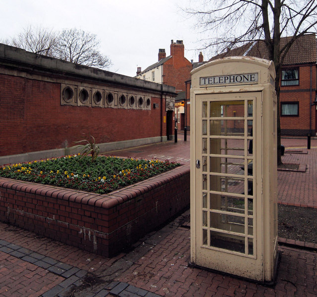 An example on Nelson Street of Hull's famous white telephone phone box