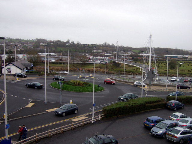 Pedestrian bridge and roundabout