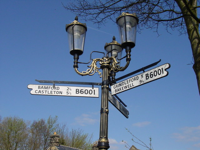 Ornamental road sign at junction of A6187 & B6001 Hathersage.