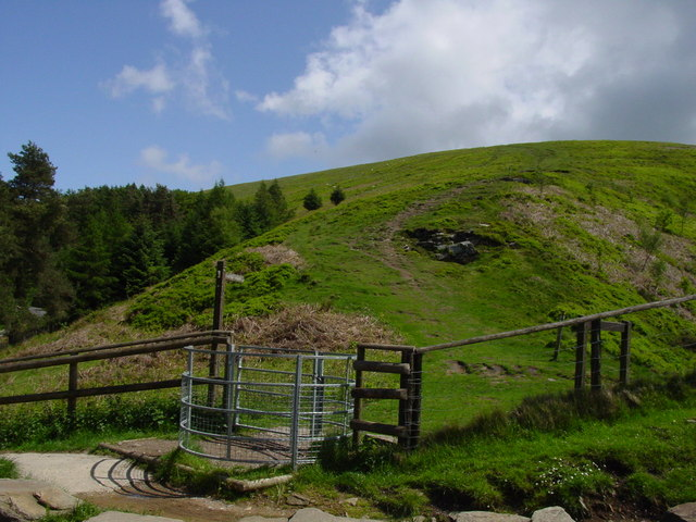 Kissing gate and path leading up to Twmbarlwm
