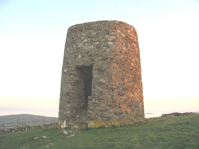 The ruined windmill on the summit of Foel Fawr