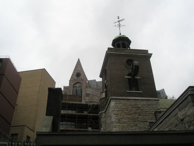 Looking up at St Olave's