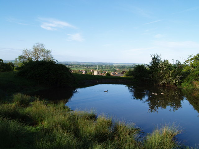 Pond on Vivers Hill towards church
