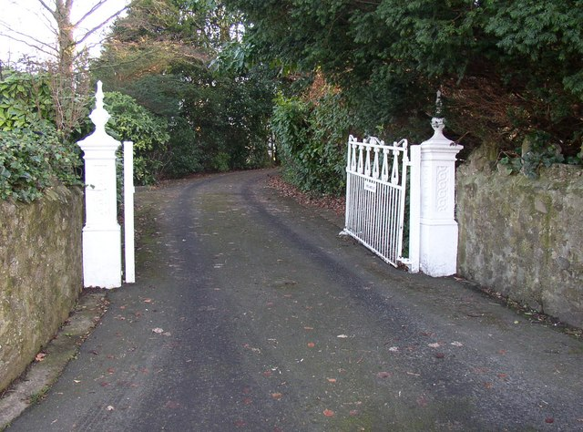 Gateway to a house up a long drive, Hest Bank Lane, Hest