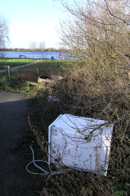 A fly-tipped washing wachine