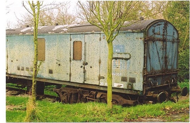 Railway wagon No. 86748 in an orchard