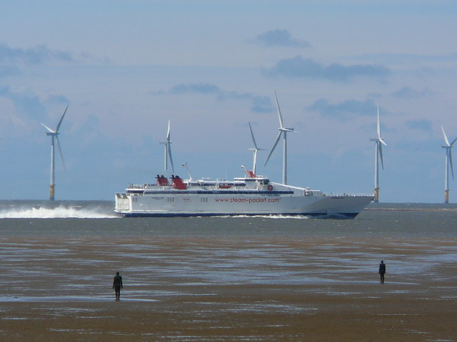 Isle of Man Ferry passing in front of Crosby West Training Bank
