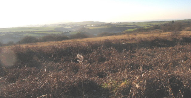 View south across waste land towards the Oerddwr valley