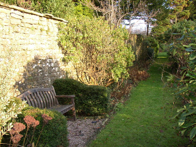 Path and seat, St Mary's Garden, Hornby