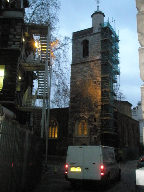St Bartholomew the Less at dusk
