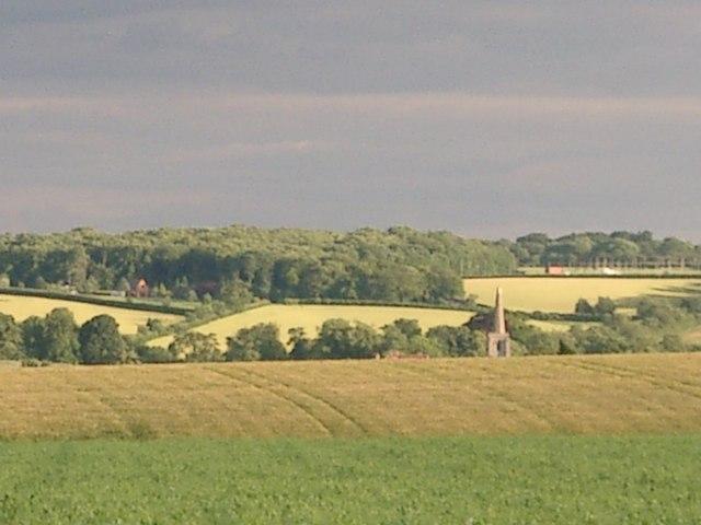 Ancaster Church spire from Sudbrook Heath