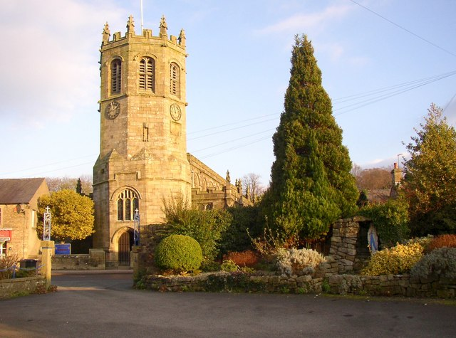 Tower of St Margaret's Church, and entrance to St Mary's RC Church, Hornby