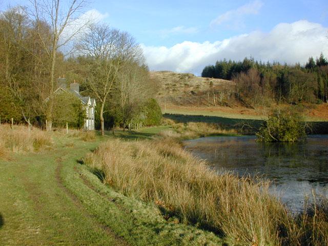 Hawthorn Cottage and pond, Hafod Estate