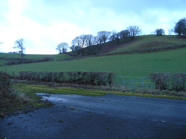 Layby and hill beside A44