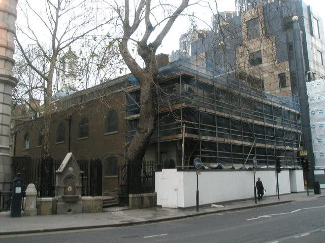Scaffolding around historic church