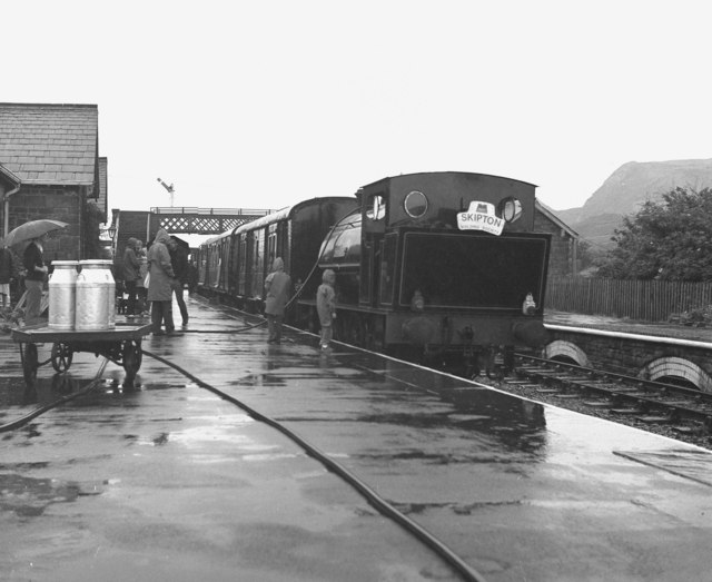 A wet day at  Embsay station