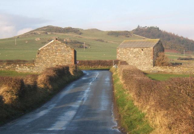 Barns at lane junction west of Millom