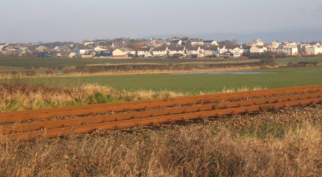 View across railway line to Millom