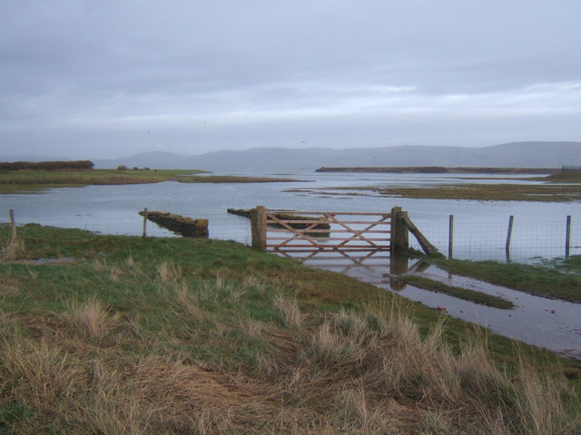 High tide over the marshes, outlet to Duddon Estuary near Millom