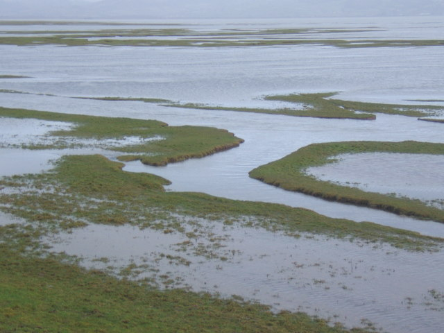 Receding tide reveals saltmarsh on western side of Duddon Estuary