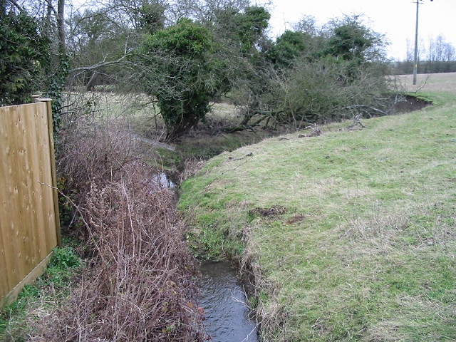 Course of small stream near Stanford