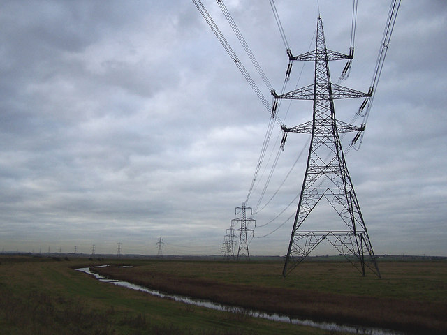 Pylons across Allhallows Marshes