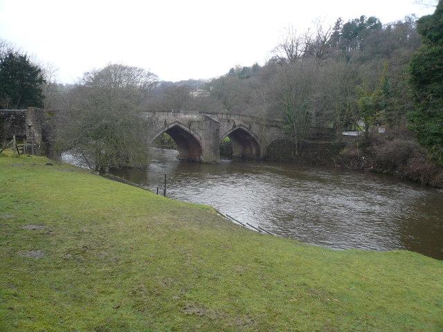 Cromford Bridge, River Derwent and Willersley Castle