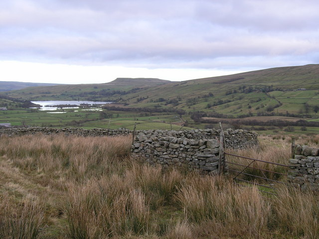View over wall to Semer Water and Addleborough