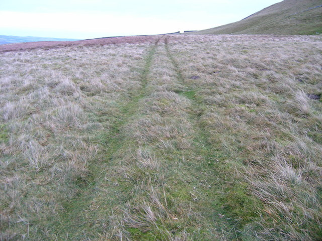 Grassy track traversing the flank of Stake Fell
