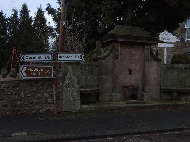 Commemorative fountain in Branxton
