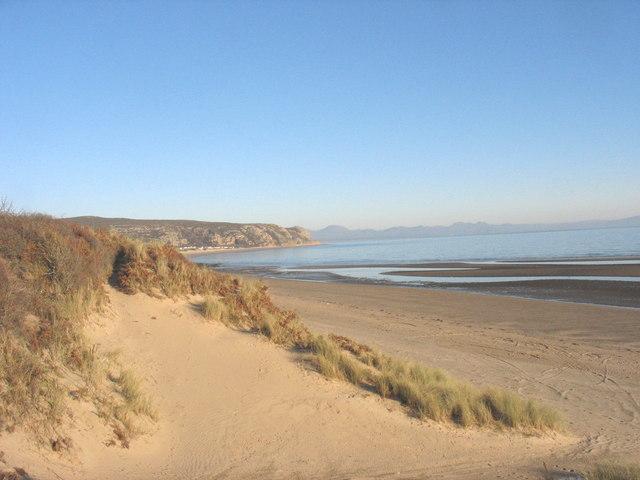 Eroded sand dunes on The Warren strand