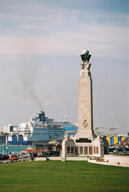 Southsea: war memorial and P&O ferry