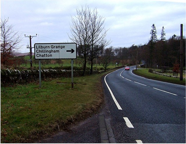 A697 approaching bridge over the Lilburn
