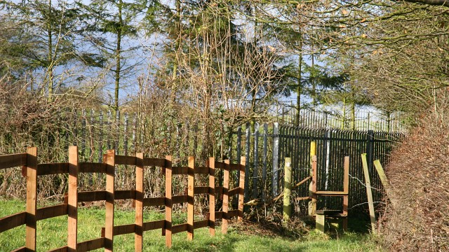 Public footpath and fence