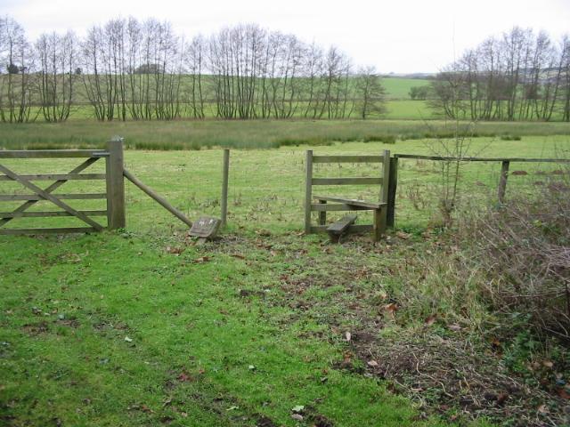 Footpath across marshy land near Horton Priory