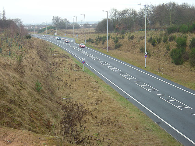 A63 Selby bypass looking west from Brayton Barff