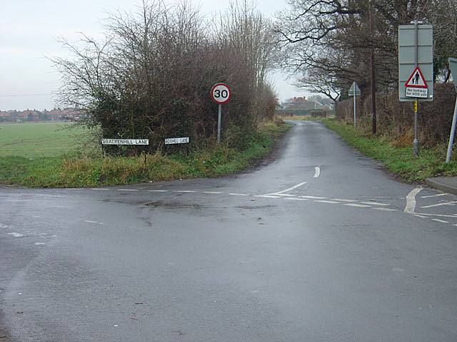 The junction of Brackenhill and Foxhill Lanes, Brayton.