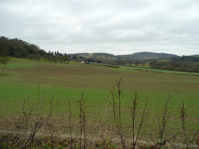 Across fields to Gold Hill Farm