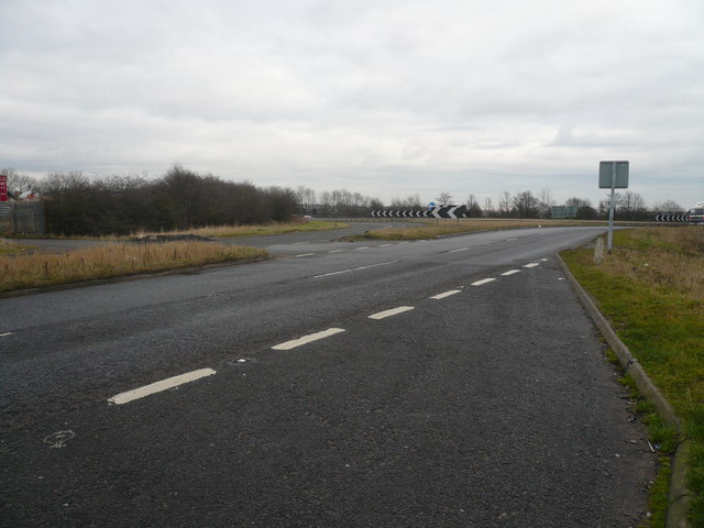 Looking back at M1 Junction 30 Roundabout from layby
