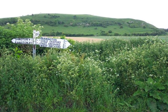 Signpost near Hambledon Hill