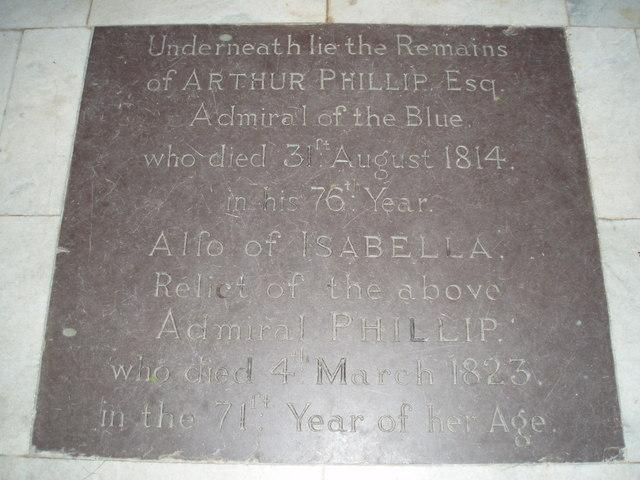 Tombstone of Arthur Philip